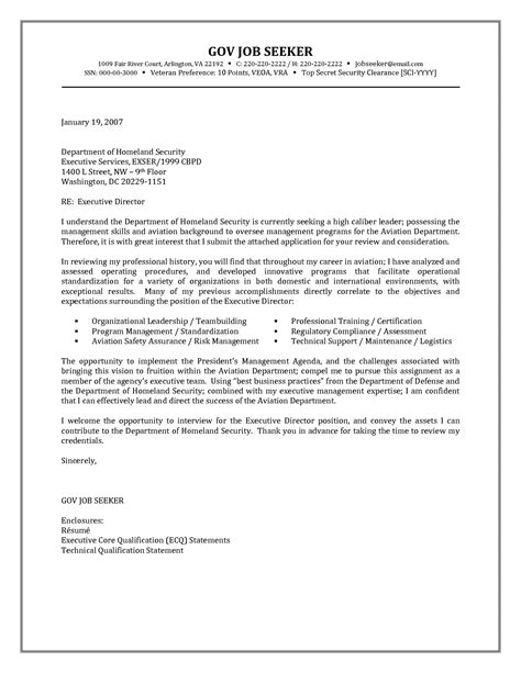 government resume cover letter exles http