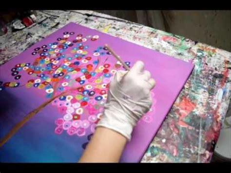 abstrakter baum  pink bunte abstrakte bilder malen