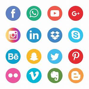 Social Media Icons Set Network Background. Smiley Face ...