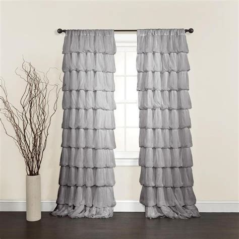 grey ruffle blackout curtains lush decor grey 84 inch curtain panel overstock