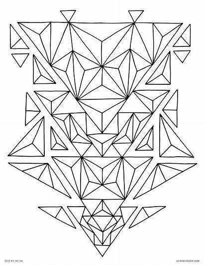 Coloring Geometric Abstract Triangle Pages Geometry Printable