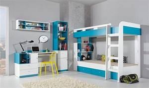 Lit Enfant Superposé : lit enfant superpos blanc et bleu avec tiroirs de rangement pas cher ~ Melissatoandfro.com Idées de Décoration