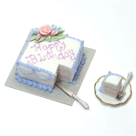 minature happy birthday square sheet cake wblue pink