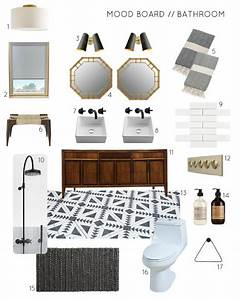Mood Board A Black And White Bathroom With Wood And Brass