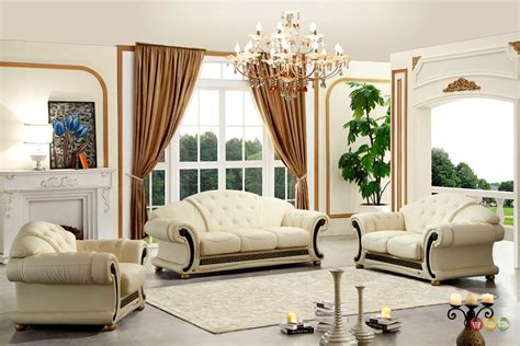 leather sofa set for living room versace cleopatra cream italian top grain leather beige