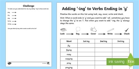 Year 2 Spelling Practice Adding 'ing' To Verbs Ending In 'y