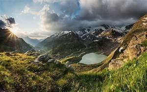 Nature, Landscape, Sunset, Mountain, Sun, Rays, Lake, Grass