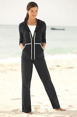 womens jogging suit contrast trim pants set orvis