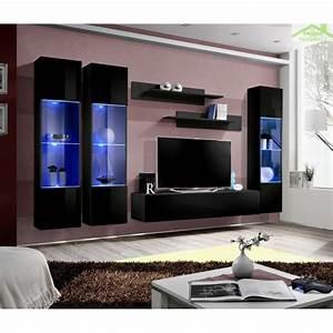 Meuble Tv Led Noir : ensemble meuble tv mural fly c avec led ~ Teatrodelosmanantiales.com Idées de Décoration