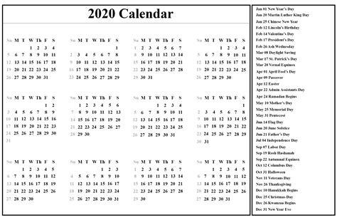 printable yearly calendar  template  holidays