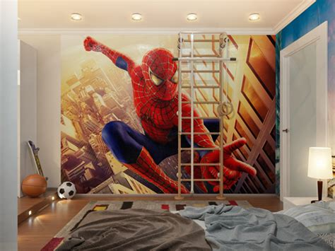 spiderman  lit boys room  ladder