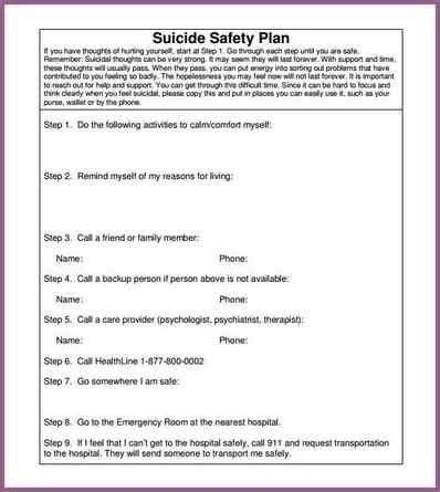 mental health safety plan template mental health safety plan template printables and menu