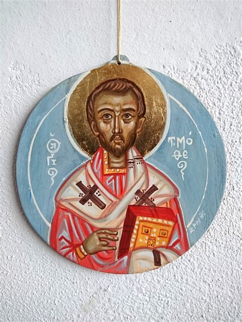 st timothy  hanging icon contemporary byzantine art