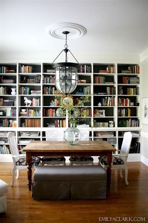 combination library  dining room shelves extending