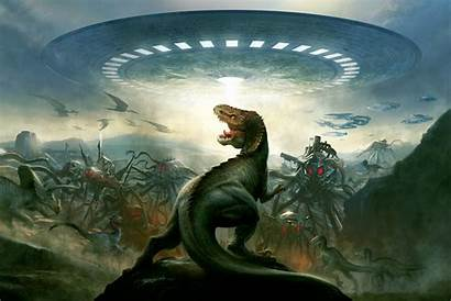 Aliens Flying Spaceship Dinosaurs Wallpapers Saucers Earth