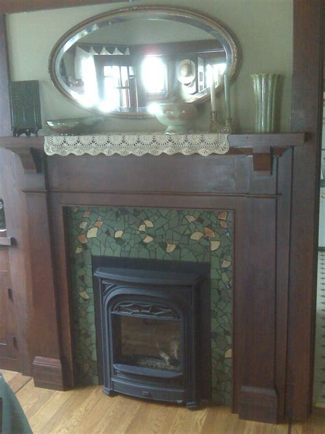 kim larson art mosaics  fireplace surround mosaic