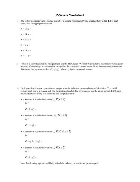 Z-Scores Worksheet