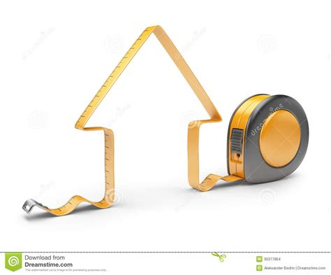 Home Design Game Tape Measure : House And Measuring Tape 3d. Construction Tool Stock