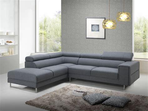 canapé tissus gris canapé d 39 angle design en tissu gris avec tétières 280 cm
