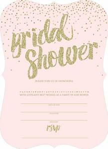 pink and gold glitter bridal shower invitation blank With wedding shower email invitations templates