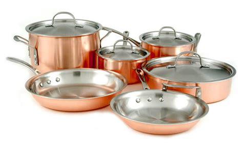 calphalon copper cookware set  piece cutlery