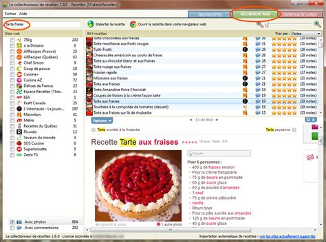 recherche de recettes de cuisine section nouvelles logiciel le collectionneur de recettes