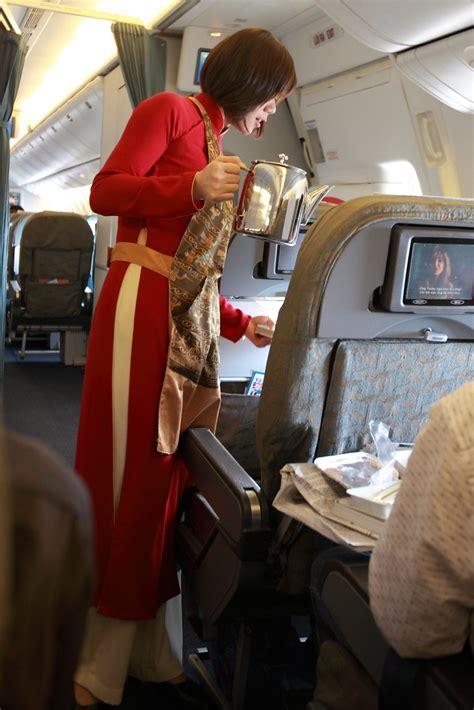 red ao dai uniform  vietnam airlines  flight