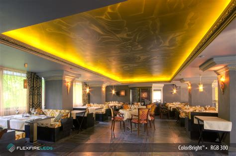 interior design for kitchen and dining restaurant and bar lighting with led lights