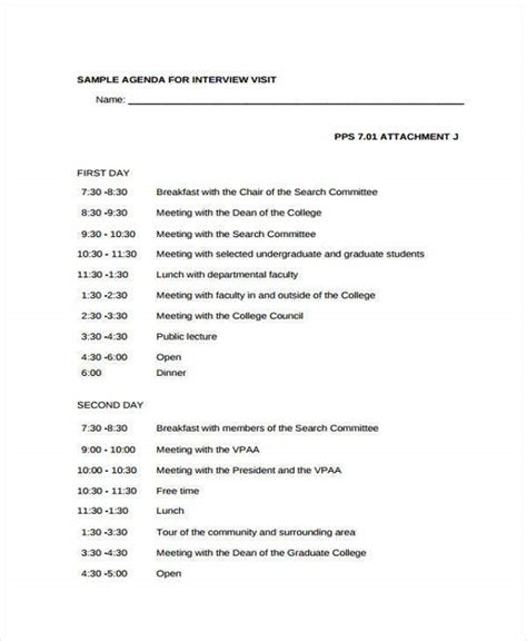 interview agenda format   sample  format