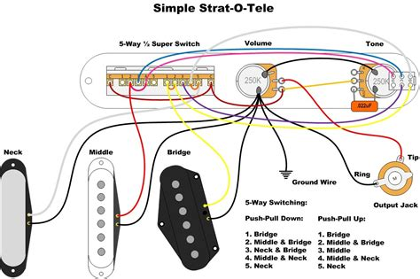 simple strat o tele for tele wiring diagram sheet