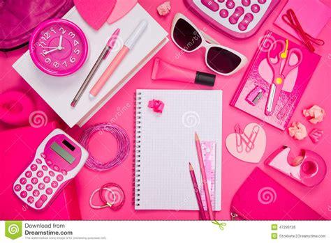 bureau papeterie bureau et papeterie roses girly photo stock image 47293126