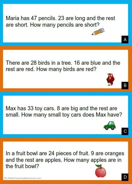 grade number subtraction word problems math words