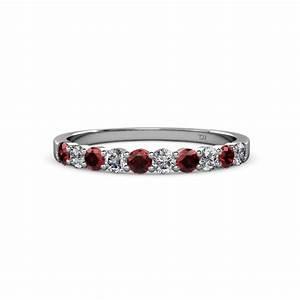 Clara 270 Mm Red Garnet And Diamond Wedding Band Red
