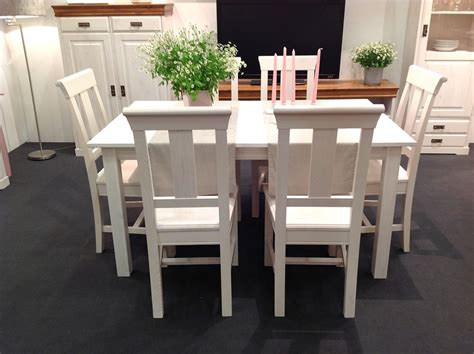 Esstisch Stühle Weiss by Massivholz Tischgruppe Set 7teilig Kiefer Wei 223 Sitzgruppe