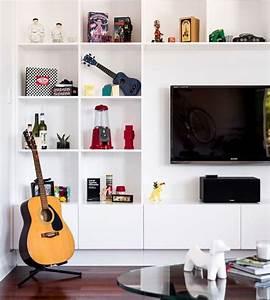 Meuble Tv Mur : support cran t l mural pour salon contemporain ~ Teatrodelosmanantiales.com Idées de Décoration