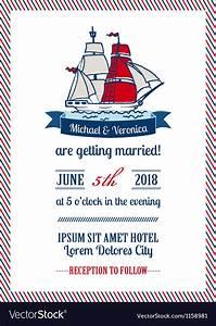 wedding marine invitation card royalty free vector image With wedding invitation marine design