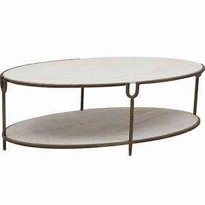 Iron and stone oval coffee table for Stone and iron coffee table