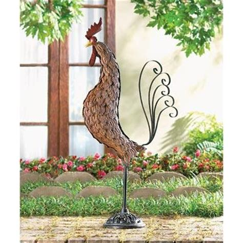 metal sculpture country rooster 31 quot statue outdoor