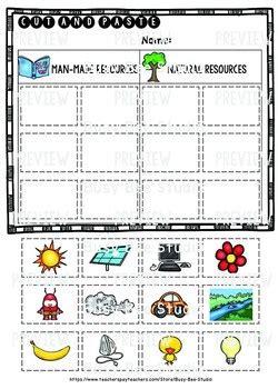 natural resources worksheets worksheet1d made natural resources category sort cut and paste worksheets