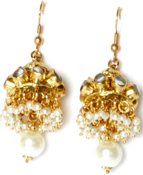 faux pearl kundan chandelier earrings