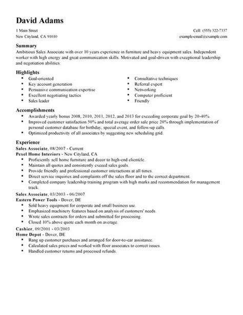simple sales associate resume exle livecareer