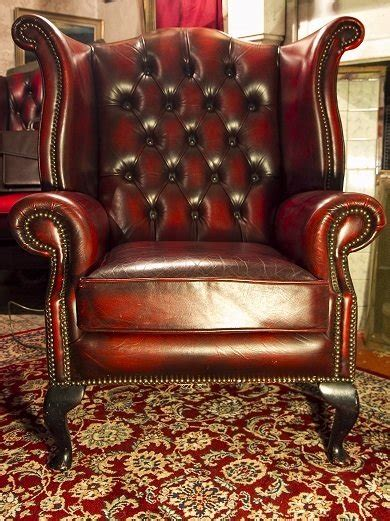 chesterfield wingback chair in oxblood color original
