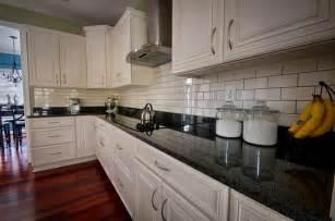 Black And White Kitchen Backsplash Beautiful Kitchen White Cabinets Black Granite Subway Tile Backsplash With Grout
