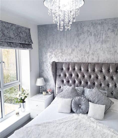 Silver Bedroom Inspo by Grey Silver White Crushed Velvet Bedroom Modern Decor