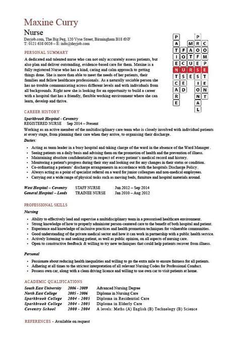 Nursing Cv Template by Nursing Cv Template Resume Exles Sle