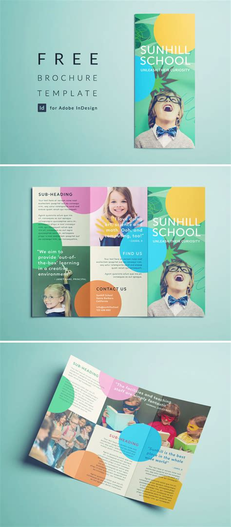 Brochure Design With Trifold Colorful Template Colorful School Brochure Tri Fold Template Free