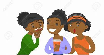 African American Whispering Friends Clipart Cartoon Talking