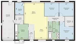 plan de maison plain pied 3 chambres sans garage ideo With charming plan maison etage 100m2 4 plan de maison plain pied 3 chambres sans garage ideo