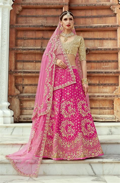 indian dress pink color bridal lehenga