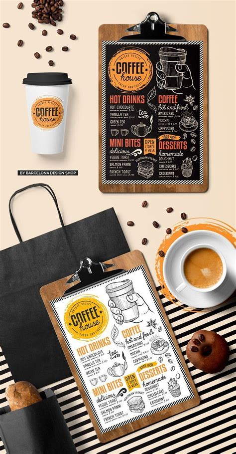 The most common coffee menu design material is wood. FREE! Trifold + Coffee Chalkboard by BarcelonaShop on @creativemarket | Coffee menu